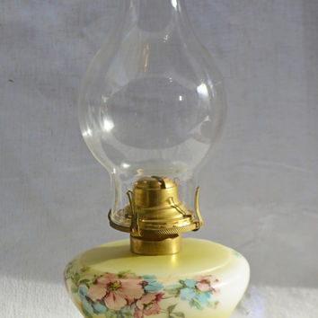 Vintage Glass Oil Lamp, 1920's Hand Painted Lamp, Milk Glass Oil Burning Lamp with Brass Burner