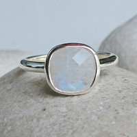 Square Moonstone Ring- Rainbow Moonstone Ring- June Birthstone Ring- Promise Ring- Gifts for Her- White Gemstone Ring