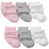 6-Pack Roll Cuff Baby Socks