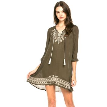 Embroidered Guaze Peasant Dress, Olive