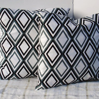 Set of 2 Decorative Pillow Covers-- 18x18--Throw PillowPillows Decorative Pillows Accent Pillows Diamond Grey Black Annie -