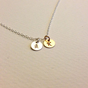 Initial Necklace Gold and Silver - Hand Stamped Double Disc Pendant Charm with Personalized Letters on Sterling Silver and Gold Filled