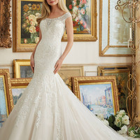 Mori Lee 2891 Beaded Cap Sleeve Lace Fit & Flare Wedding Dress – Off White by Bridal Expressions