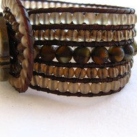 Rustic Beaded Leather Cuff, 5 Row Cuff, Stone finish, Boho Bracelet
