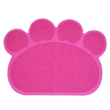 Colorful Paw Shape Pet Dog Puppy Cat Feeding Mat Pad Cute PVC Bed Dish Bowl Food Water Feed Placemat Wipe Clean Pet Supplies