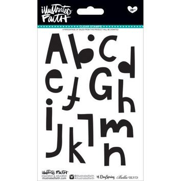 Bella Blvd Illustrated Faith  Basics Collection Clear Acrylic Stamps Homespun Alphabet