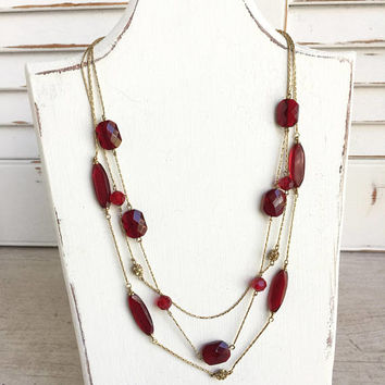 Monet Triple Strand Gold Tone Necklace with Red Glass Beads and Champagne Rhinestones, Monet Necklace, Gift for Her,