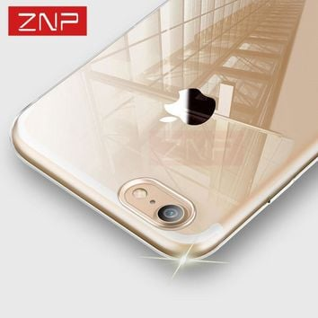 ZNP Ultra Thin Soft Transparent TPU Case For iPhone 8 8 Plus Clear Silicone Full Cover For iPhone 8 Plus 8 Phone Case Capa Coque