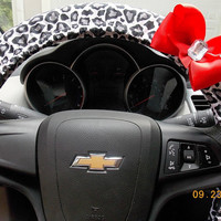 Steering Wheel Cover  Snow Leopard  White Cheetah  Car Accessories