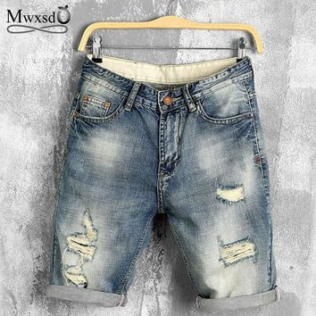 Mwxsd Brand summer denim shorts male jeans men jean shorts bermuda skate board harem mens jogger ankle ripped wave Plus 28-40