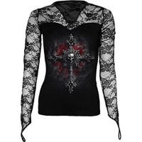 Gothic clothing: Vamp Fang women's shirt by Spiral Direct