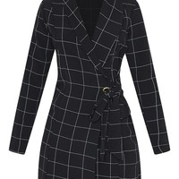 Black Checked Long Sleeve Blazer Dress