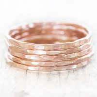 ROSE Stacking Rings / Rose Gold Filled Stack Rings / 5 Stacking Hammered POLISHED Delicate Simple Stack Ring Chic Fall Fashion