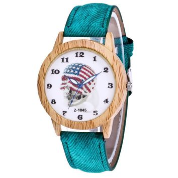 GENVIVIA Luxury Stylish Unisex Skull Head Wrist Watch Fashion Denim Wooden Watches