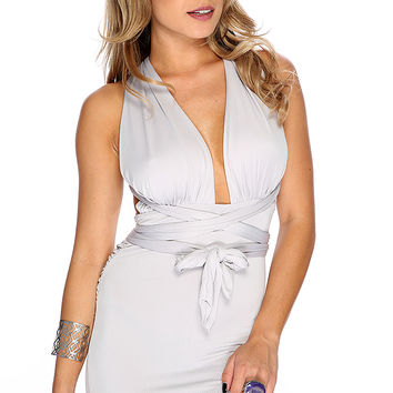 Sexy Light Grey Plunging Cross Strap Bodycon Party Dress