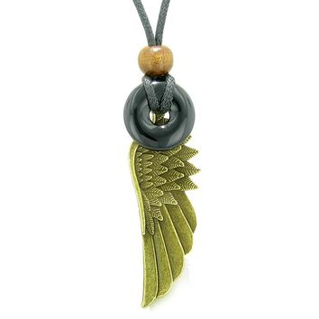 Guardian Angel Wing Protection Magic Powers Amulet Lucky Donut Charm Black Agate Pendant Necklace