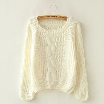 DCCKHQ6 Long Puff Sleeve Cropped Knit Sweater