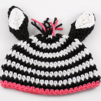 Crochet Zebra Baby Girl Hat with Pink // Baby Photo Prop // Newborn Size