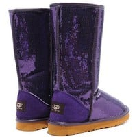 UGG Original Fashion Women Winter Wool Sequins Snow Boots Calfskin Shoes Purple I/A