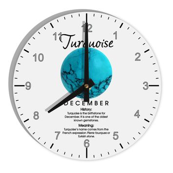"Birthstone Turquoise 8"" Round Wall Clock with Numbers by TooLoud"