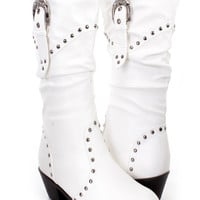 White Studded Slouchy Cowboy Boots Faux Leather