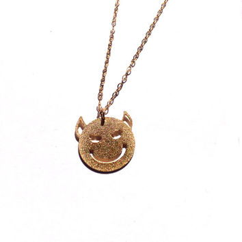 Devil Smiley Necklace Icon Everyday Necklace Dainty Necklace Necklace Logo Necklace Silver Necklace Gold Filled Necklace Icon Necklace Small
