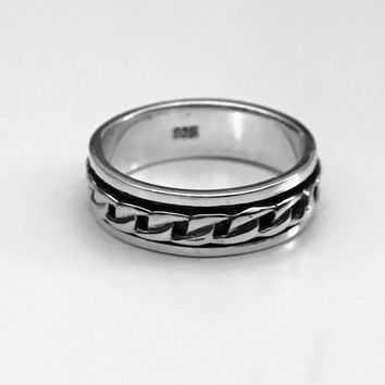 Spinner Ring, Curb Ring, Celtic Ring, Sterling Silver Celtic Ring, Gothic Jewelry, Medieval Design, Gothic Scroll Ring
