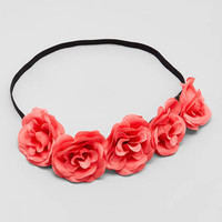 Coral Pink Rosette Cluster Flower Crown Headbands