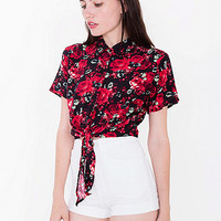 Printed Rayon Mid-Length Tie-Up Blouse | American Apparel