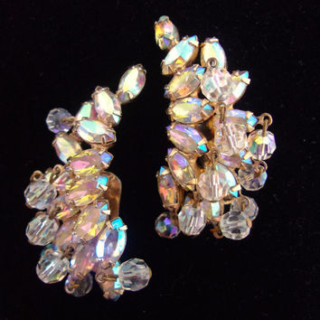 WEISS Pastel Aurora Borealis Rhinestone Earrings, Crystals, Large, Signed Vintage
