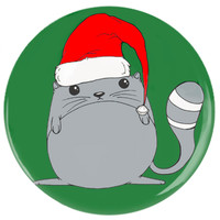 Button Pin Holiday Cat: Pin Back Button Cat