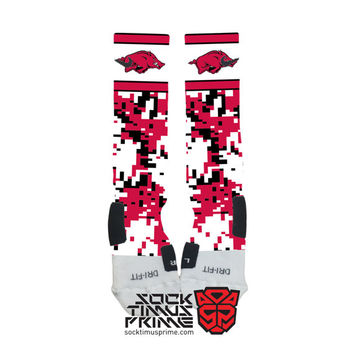 Custom Nike Elite Socks - University of Arkansas Razorbacks Custom Nike Elites - Arkansas Socks, Arkansas Football, Custom Elites, SEC