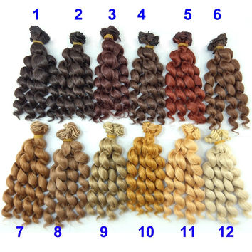 1piece 15cm length thick doll hair  1/3 /1/4 1/6 bjd curly BJD wigs SD doll