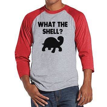 Men's Funny Shirt - What the Shell? - Funny Mens Shirts - Turtle Shirt - Red Baseball Tee - Gift for Him - Funny Gift Idea for Boyfriend