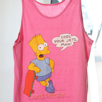 "90s Pink Bart Simpson ""Cool Your Jets, Man"" Unisex Tank Top"