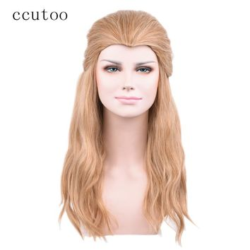 ccutoo 60cm Blonde Brown Mix Curly Long Beauty Tip Widow's Peak Synthetic Hair Cosplay Wigs Marvel's The Avengers Thor Odinson