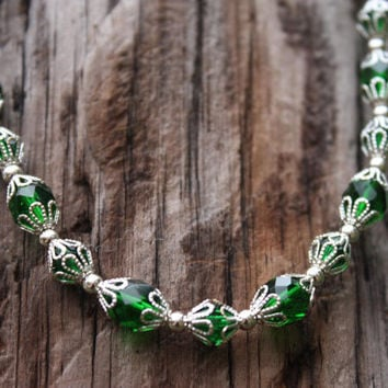 Green and Silver - Green Necklace - Green Bracelet - St Patricks Day - Gift For Her - Green Czech Glass - Matching Set - Womens Gift