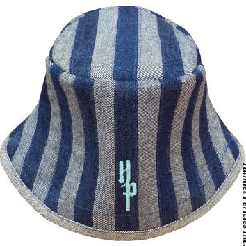Blue Denim Stripe Patchwork Unisex Bucket Hat | OOAK Denim Hat by Hamlet Pericles
