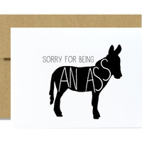 Funny apology card apologize sorry for being an ass jackass donkey silhouette greeting card silly snarky black kraft