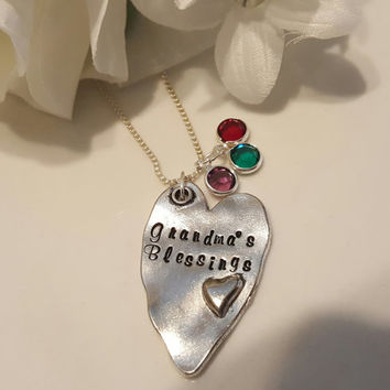 Grandma's Blessing - Grandchild Necklace - Gift for Grandmother - Grandchildren Necklace - Grandbaby Jewelry - Birthstone