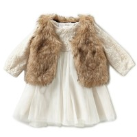 Starting Out Baby Girls 3-24 Months Lace Dress & Faux-Fur Vest Set | Dillards