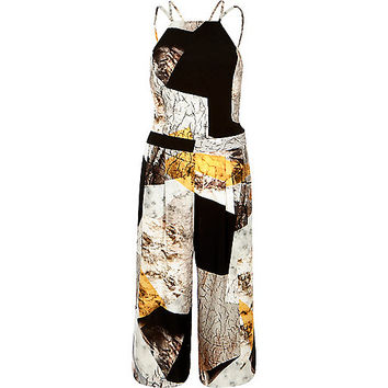 Beige print strappy cropped jumpsuit - jumpsuits - playsuits / jumpsuits - women