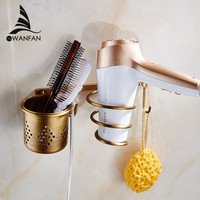 Multi-Function Bathroom Hair Dryer Holder Wall Mounted Rack Antique Copper Shelf Storage Organizer Hairdryer Holder Et-300