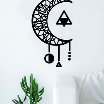 Geometric Moon Dreamcatcher Art Wall Decal Sticker Vinyl Living Room Bedroom Decor Teen Native American Dream Catcher
