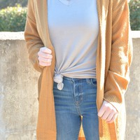 Don't Be Late Hooded Cardigan - Golden