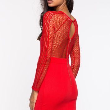 Caught Up Long Sleeve Red Dress