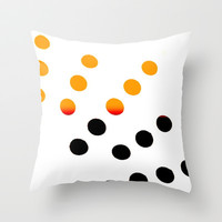 Black and Orange Dots Throw Pillow by Jensen Merrell Designs