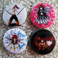 set of 4 erza scarlet from fairy tail 1 inch pinback buttons