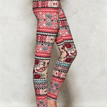 Floral Aztec Peached Leggings