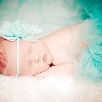 Customize your own Lace Pearl Tutu Set with  Matching Stunning Lacey Tiffany Teal Blue Headband Newborn-3T Photography Prop